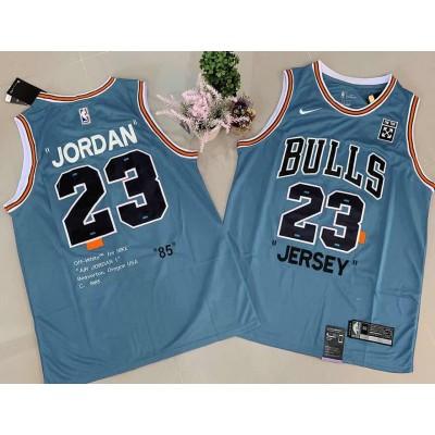 NBA Bulls 23 Michael Jordan Blue Commemorative Edition Basketball Men Jersey