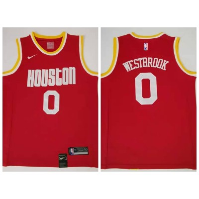 NBA Houston Rockets 0 Russell Westbrook Red Hardwood Classics Men Jersey