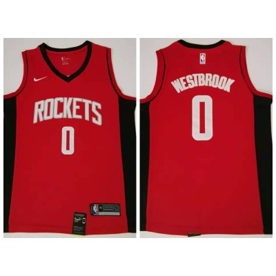 NBA Houston Rockets 0 Russell Westbrook Red Icon Nike Men Jersey