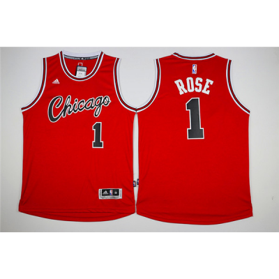 NBA Chicago Bulls 1 Derrick Rose Red Swingman Men Jersey