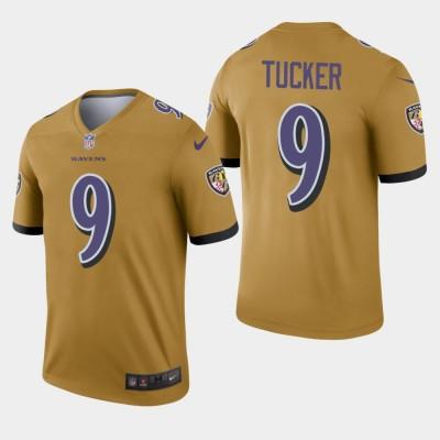 Nike Ravens 9 Justin Tucker Gold Inverted Legend Men Jersey