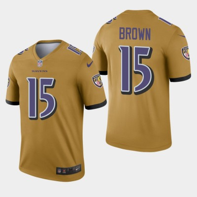 Nike Ravens 15 Marquise Brown Gold Inverted Legend Men Jersey