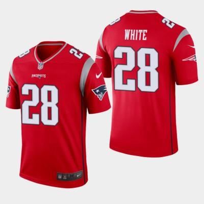 Nike Patriots 28 James White Red Inverted Legend Men Jersey