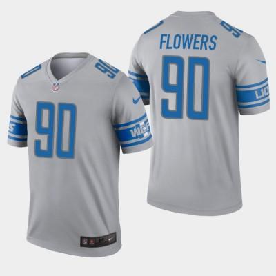 Nike Lions 90 Trey Flowers Grey Inverted Legend Men Jersey