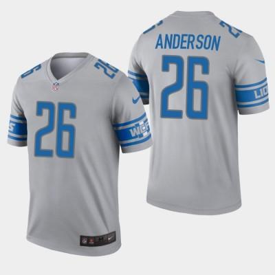 Nike Lions 26 C.J. Anderson Grey Inverted Legend Men Jersey