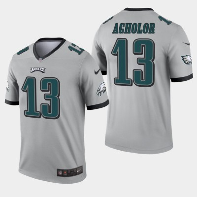 Nike Eagles 13 Nelson Agholor Grey Inverted Legend Men Jersey