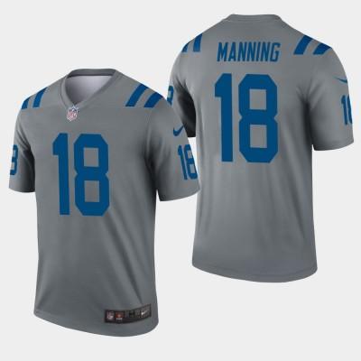 Nike Colts 18 Peyton Manning Grey Inverted Legend Men Jersey