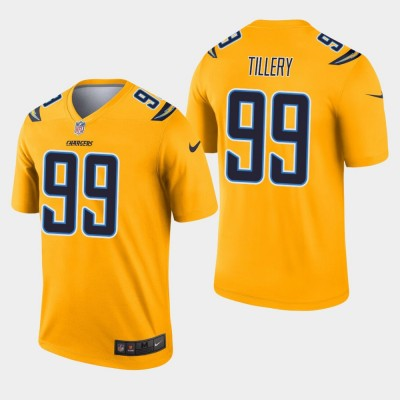 Nike Chargers 99 Jerry Tillery Gold Inverted Legend Men Jersey