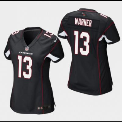 Nike Arizona Cardinals 13 Kurt Warner Black Stitched Women Jersey