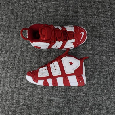 Nike Air More Uptempo White Red Kids Shoes