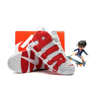 Nike Air More Uptempo Chaussures White Red Kids Shoes