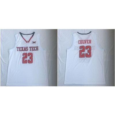 NCAA Texas Tech Red Raiders 23 Jarrett Culver White College Basketball Men Jersey