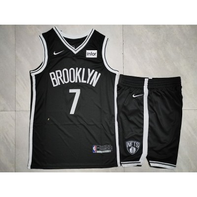 NBA Nets 7 Kevin Durant Black Nike Men Jersey(With Shorts)