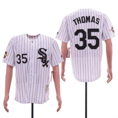 MLB White Sox 35 Frank Thomas White 2005 World Series Cooperstown Collection Men Jersey