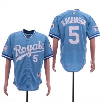 MLB Royals 5 B.Robinson Light Blue Mesh Throwback Men Jersey