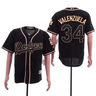 MLB Dodgers 34 Fernando Valenzuela Black Gold Cool Base Men Jersey