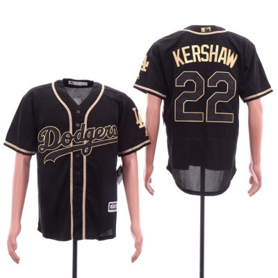 MLB Dodgers 22 Clayton Kershaw Black Gold Cool Base Men Jersey