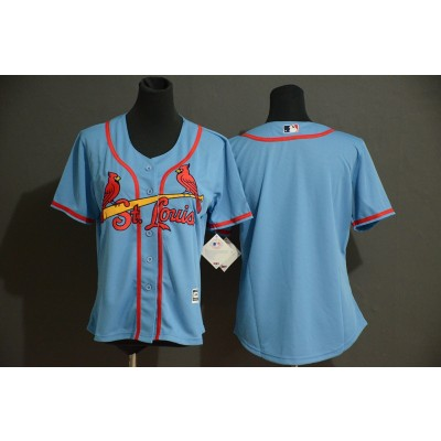 MLB Cardinals Blank Light Blue Flexbase Women Jersey