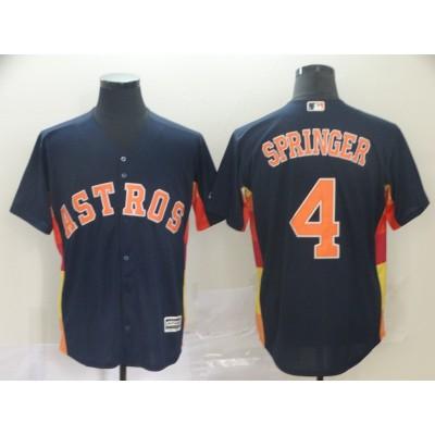 MLB Astros 4 George Springer Navy Cool Base Men Jersey