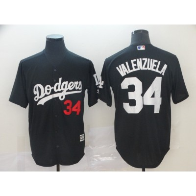 MLB Dodgers 34 Fernando Valenzuela Black Turn Back Men Jersey