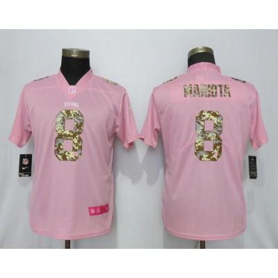 Nike Titans 8 Marcus Mariota Pink Camo Fashion Limited Women Jersey