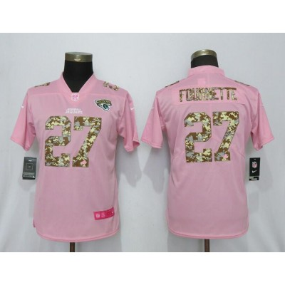 Nike Jaguars 27 Leonard Fournette Pink Camo Fashion Limited Women Jersey