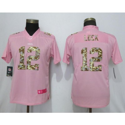 Nike Colts 12 Andrew Luck Pink Camo Fashion Limited Women Jersey