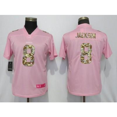 Nike Ravens 8 LaMar Jackson Pink Camo Fashion Limited Women Jersey