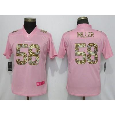 Nike Broncos 58 Von Miller Pink Camo Fashion  Limited Women Jersey