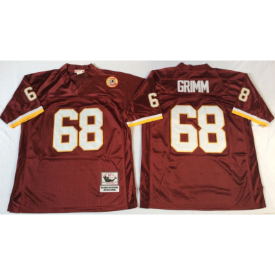 NFL Redskins 68 Russ Grimm Red M&N Throwback Men Jersey