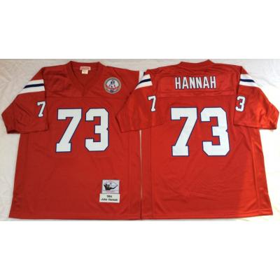 NFL Patriots 73 John Hannah Red M&N Throwback Men Jersey