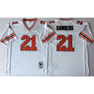 NFL Falcons 21 Deion Sanders White 1989 M&N Throwback Men Jersey