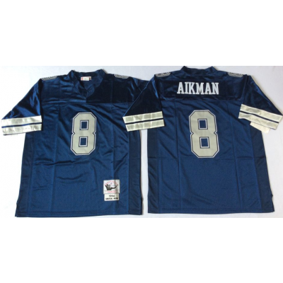 NFL Cowboys 8 Troy Aikman Blue M&N Throwback Men Jersey