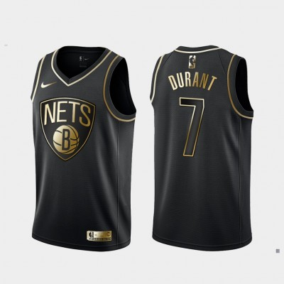 NBA Nets 7 Kevin Durant Black Gold Nike Men Jersey