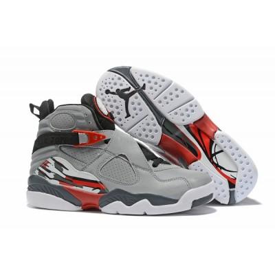 Air Jordan 8 Grey White Red Shoes