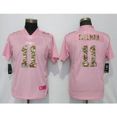 Nike Patriots 11 Julian Edelman Pink Camo Fashion Limited Women Jersey