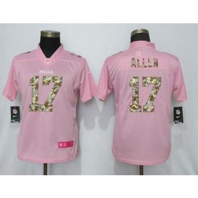 Nike Bills 17 Josh Allen Pink Camo Fashion Limited Women Jersey