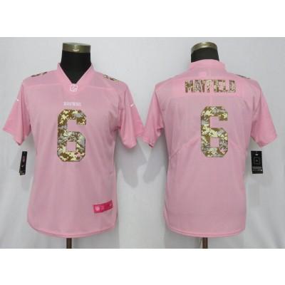 Nike Browns 6 Baker Mayfield Pink Camo Fashion Limited Women Jersey