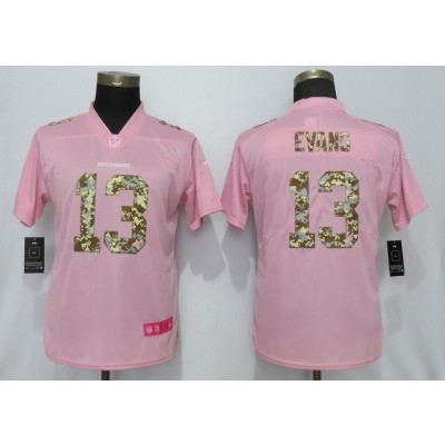 Nike Buccaneers 13 Mike Evans Pink Camo Fashion Limited Women Jersey