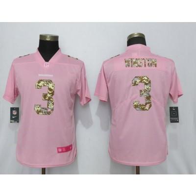 Nike Buccaneers 3 Jameis Winston Pink Camo Fashion Limited Women Jersey