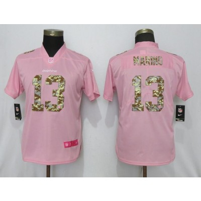 Nike Dolphins 13 Dan Marino Pink Camo Fashion Limited Women Jersey