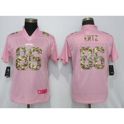 Nike Eagles 86 Zach Ertz Pink Camo Fashion Limited Women Jersey