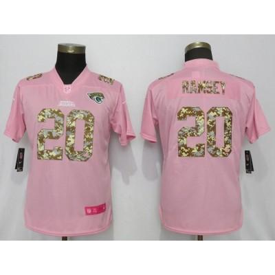 Nike Jaguars 20 Jalen Ramsey Pink Camo Fashion Limited Women Jersey