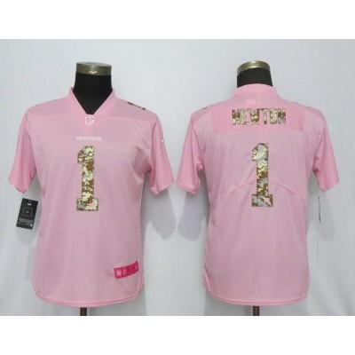 Nike Panthers 1 Cam Newton Pink Camo Fashion Limited Women Jersey