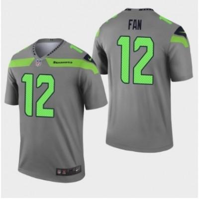 Nike Seattle Seahawks 12 Fan Gray Inverted Legend Men Jersey
