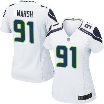 Nike Seattle Seahawks 91 Cassius Marsh White Elite Women Jersey