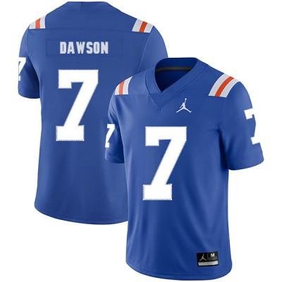 NCAA Florida Gators 7 Duke Dawson Blue Throwback College Football Men Jersey