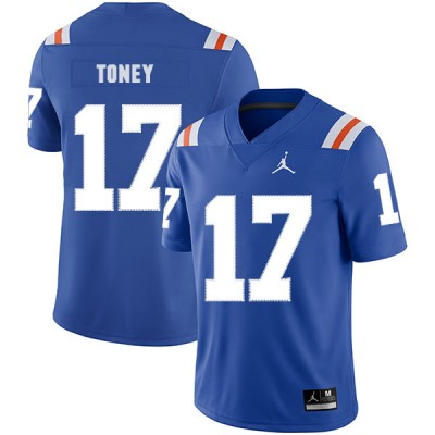 NCAA Florida Gators 17 Kadarius Toney Blue Throwback College Football Men Jersey