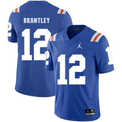NCAA Florida Gators 12 John Brantley Blue Throwback College Football Men Jersey