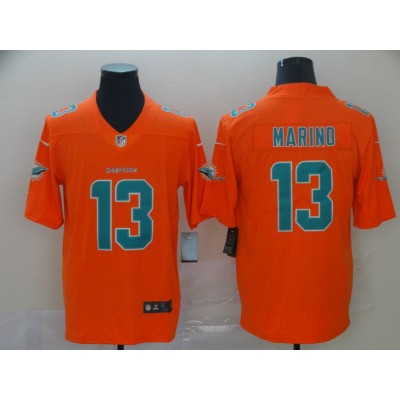 Nike Dolphins 13 Dan Marino Orange Inverted Legend Men Jersey